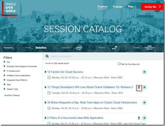 Oracle OpenWorld Session Catalog Presentations