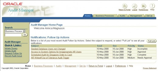 The Oracle Internal Controls Manager Home Page