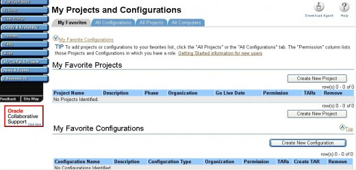 A screen shot of the Metalink my configurations and projects