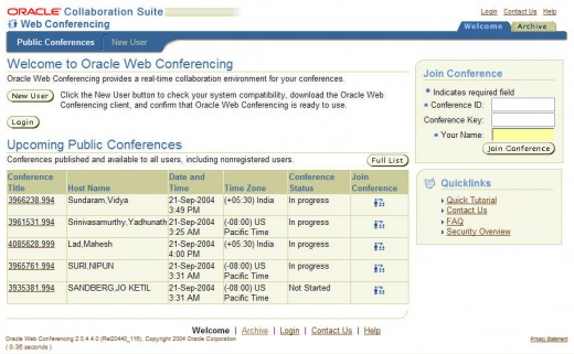 The Oracle Web Conferencing (OWC) Welcome Screen