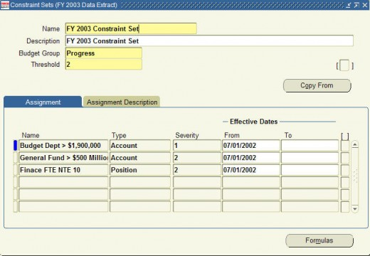 Setting up Ceilings/Constraints in Oracle Public Sector Budgeting