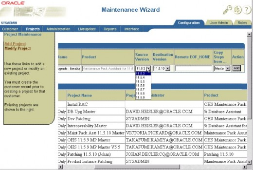 An illustration of the Oracle 11i Upgrade Assistant or Maintenance Wizard